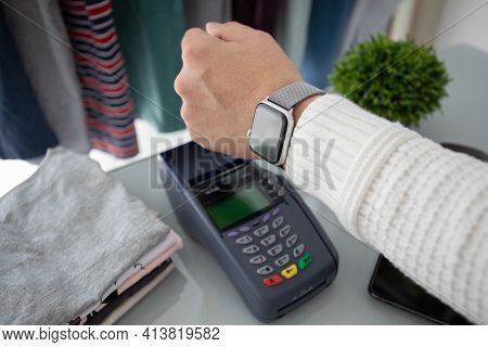 Anapa, Russia - August 12, 2019: Man Hand Holding Apple Watch With Apple Pay On The Screen And Pay P