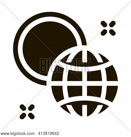 Rotation Of Earth Around Sun Glyph Icon Vector. Rotation Of Earth Around Sun Sign. Isolated Symbol I