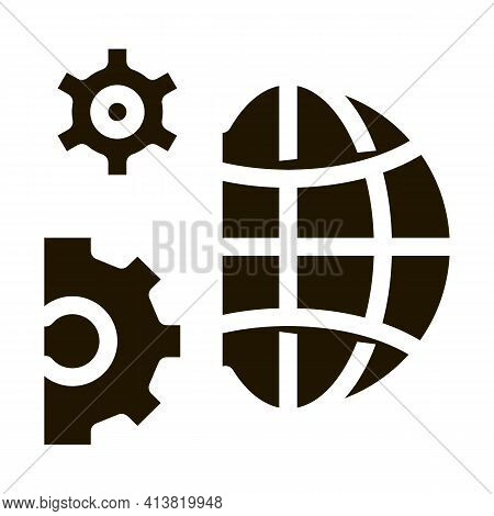 Solving Planet Problems Glyph Icon Vector. Solving Planet Problems Sign. Isolated Symbol Illustratio