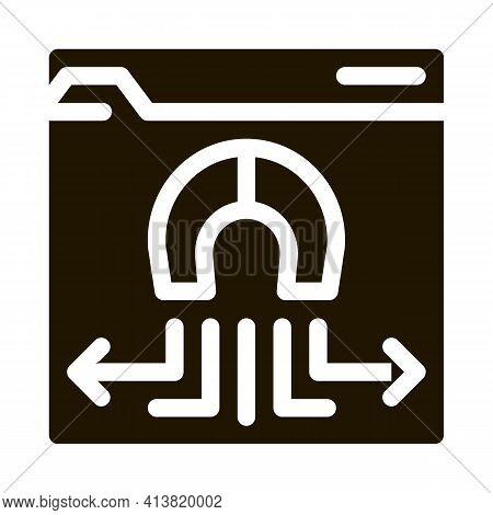 Folder Magnetic Pull Glyph Icon Vector. Folder Magnetic Pull Sign. Isolated Symbol Illustration