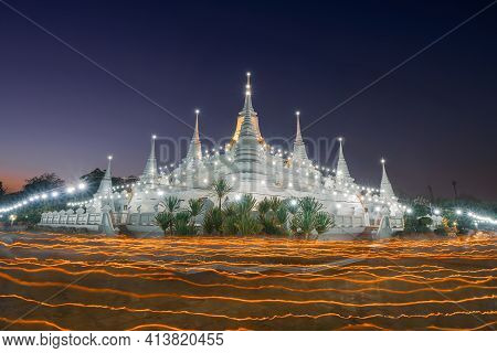 Wat Asokaram, A Buddhist Temple In Samut Prakan City, Thailand. Architecture Buildings In A Ceremony