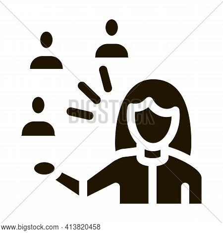 Presentation Of People By Woman Glyph Icon Vector. Presentation Of People By Woman Sign. Isolated Sy