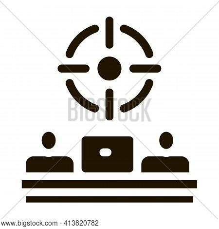 One Goal For Two People Glyph Icon Vector. One Goal For Two People Sign. Isolated Symbol Illustratio