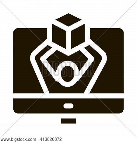 Computer Receipt Of Parcel Glyph Icon Vector. Computer Receipt Of Parcel Sign. Isolated Symbol Illus