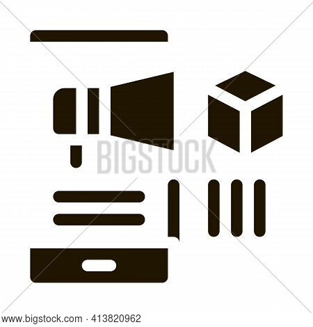 Telephone Notification Of Parcel Glyph Icon Vector. Telephone Notification Of Parcel Sign. Isolated
