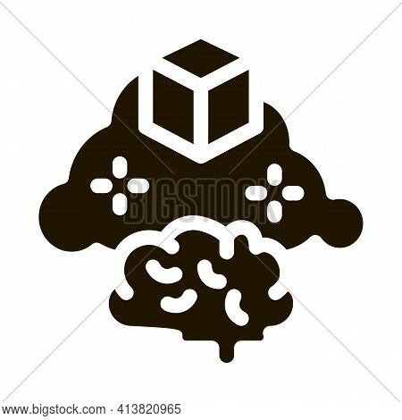 Parcel Brain Cloud Glyph Icon Vector. Parcel Brain Cloud Sign. Isolated Symbol Illustration