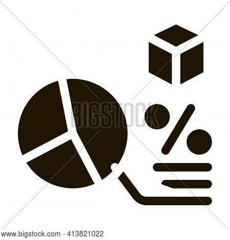 Parcel Percentage Chart Glyph Icon Vector. Parcel Percentage Chart Sign. Isolated Symbol Illustratio