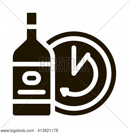 Temporary Aging Of Wine Glyph Icon Vector. Temporary Aging Of Wine Sign. Isolated Symbol Illustratio