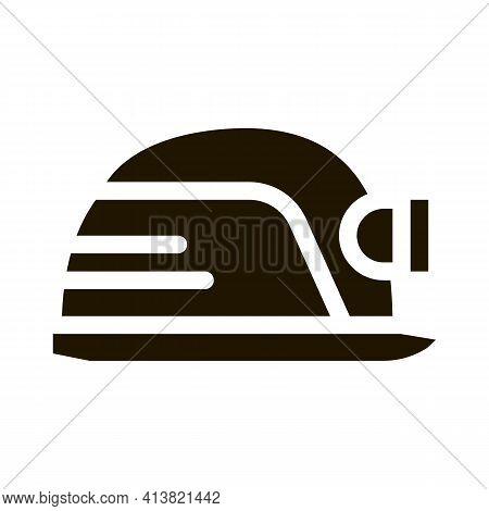 Safety Helmet With Flashlight Glyph Icon Vector. Safety Helmet With Flashlight Sign. Isolated Symbol