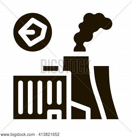 Coal Production Plant Glyph Icon Vector. Coal Production Plant Sign. Isolated Symbol Illustration