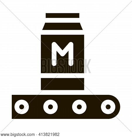 Convector Milk Bottle Glyph Icon Vector. Convector Milk Bottle Sign. Isolated Symbol Illustration