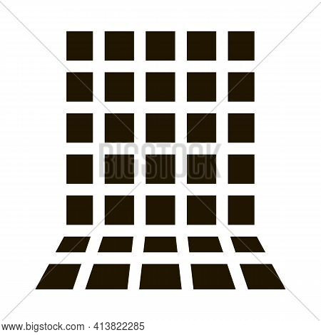 Laying Square Tiles All Over Wall Glyph Icon Vector. Laying Square Tiles All Over Wall Sign. Isolate