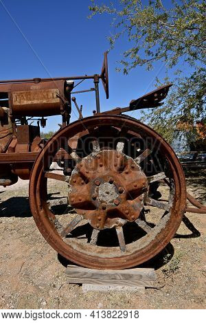 Maricopa, Arizona, February 26, 2021: The Old F-12 Tractor Is A Farmall, A Model Name And Later A Br