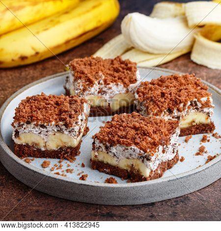 Delicious Homemade Chocolate Dessert With Banana, Ricotta (cremcheese, Mascarpone) And Brownie. Mole