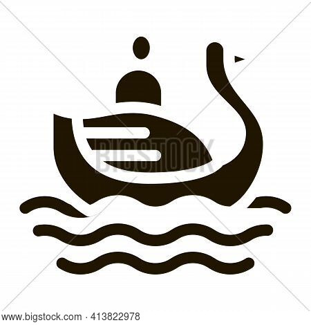 Duck Watching In Park Glyph Icon Vector. Duck Watching In Park Sign. Isolated Symbol Illustration