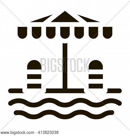 Places Under Sun Umbrella Glyph Icon Vector. Places Under Sun Umbrella Sign. Isolated Symbol Illustr