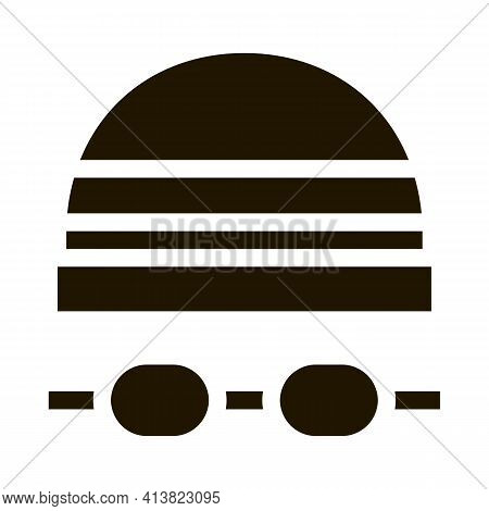 Safety Goggles And Hat Glyph Icon Vector. Safety Goggles And Hat Sign. Isolated Symbol Illustration