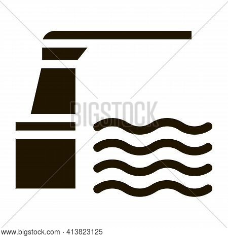 Water Level Meter Glyph Icon Vector. Water Level Meter Sign. Isolated Symbol Illustration