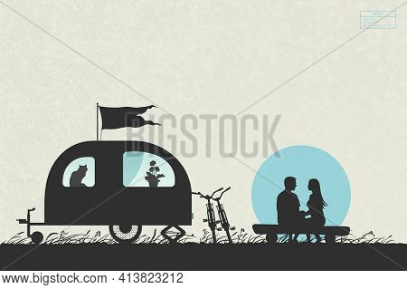 Lovers And Camper Trailer. Couple On Campsite. Family Vacation