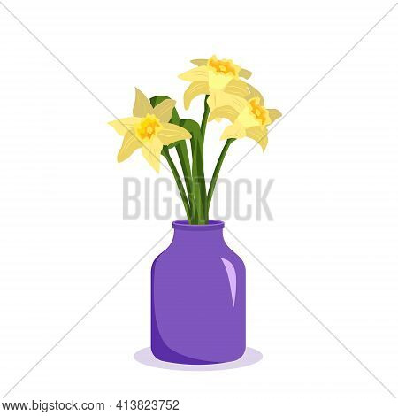 Cute Spring And Summer Flowers Daffodils In A Vase. Bouquet As A Gift. Interior Decoration. Plant Sh
