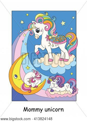 Mommy Unicorn With Two Sleeping Babies.vector Cartoon Colorful Illustration. For Postcard, Posters,