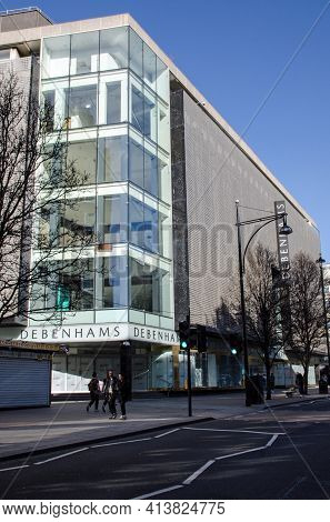 London, Uk - February 26, 2021: The Flagship Store And Headquarters Of Debenhams In Oxford Street, L