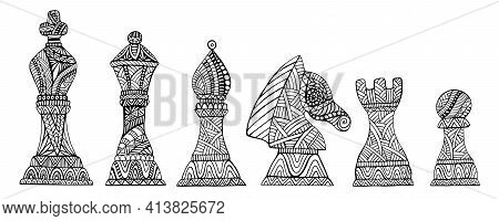 Set With King, Queen, Bishop, Knight, Rook And Pawn Chess Pieces Coloring Page For Adults And Kids,