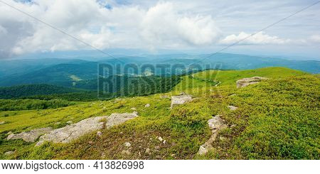 Alpine Carpathian Scenery. View The Hill Of Mountain Runa In To The Rural Valley Of Turiya On A Clou