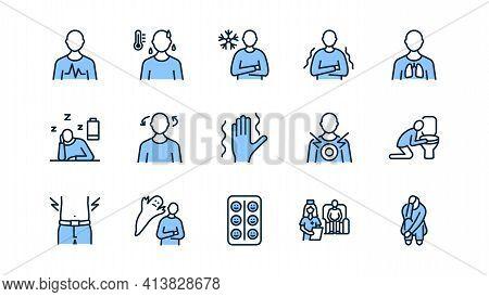 Panic Attack Symptoms Flat Line Icon Set Blue Color. Vector Illustration Psychological Illness Chara