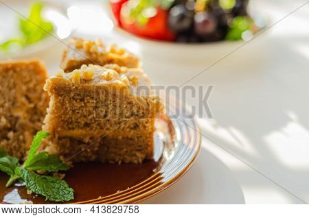 Coffee Cake Layered With Coffee Buttercream And Walnuts, Colombian Coffee And Walnut Cake, Sweets