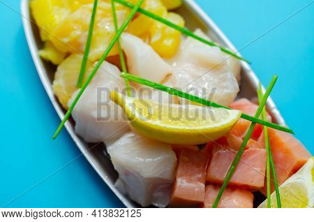 Fish Pie Mix, Defrosted, Skinless And Boneless Cod, Dyed Smoked Haddock And Salmon, Sea Food