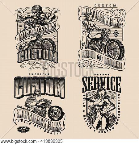 Custom Motorcycle Vintage Monochrome Designs With Skeleton And Girl Bikers Motorbike Garage Repair S
