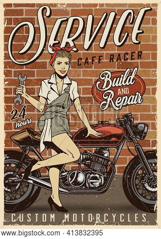Motorcycle Repair Service Vintage Poster With Attractive Woman Holding Wrench And Standing Near Cafe