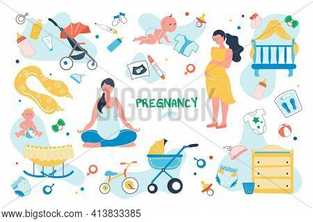 Pregnancy Set Isolated Elements. Pregnant Woman Preparing For Birth Of Child. Baby Care Symbols Bund