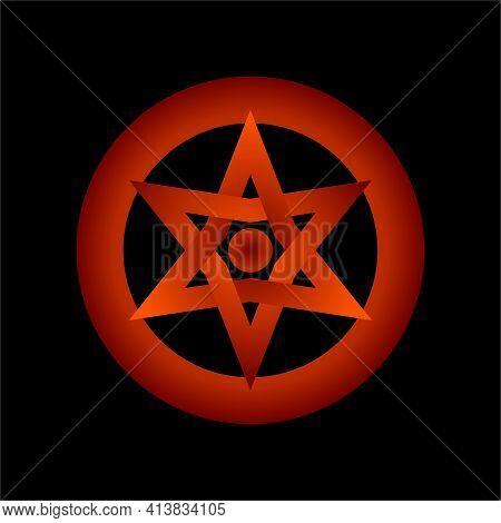 Hexagram In Circle. Star Of David. Logo Template In Flat Design Monogram Illustration