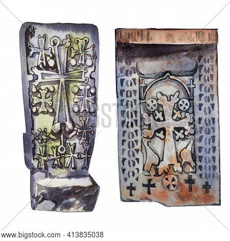 Armenian Khachkar. Armenian Christian Cross Carved In Stone Isolated. Ancient Ornamental Christian C