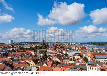 View Over The Hanseatic Town Rostock, Germany.
