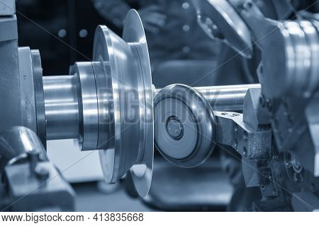 The Spinning Machine Control By Cnc Program. The Metal Forming Processing By Spinning Machine.