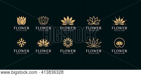 Set Of Flower Leaf Beauty Logo Design Vector Template. Logo Can Be Used For Icon, Brand, Identity, S