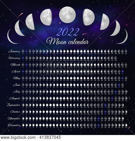 Moon Phase Calendar 2022 Year Month Cycle Planner