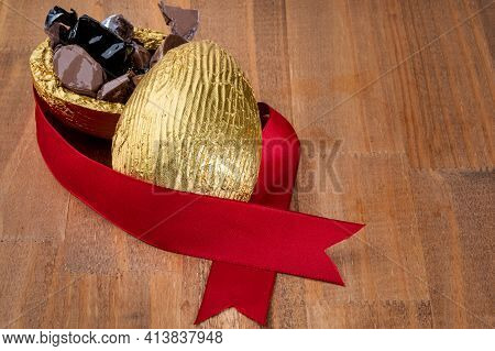 Brazilian Easter Chocolate Egg On Wooden Background