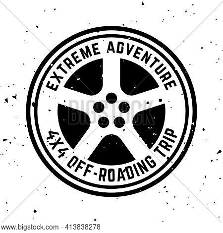 Off-road 4x4 Extreme Club Vector Round Monochrome Vintage Emblem With Tire Isolated On White Backgro