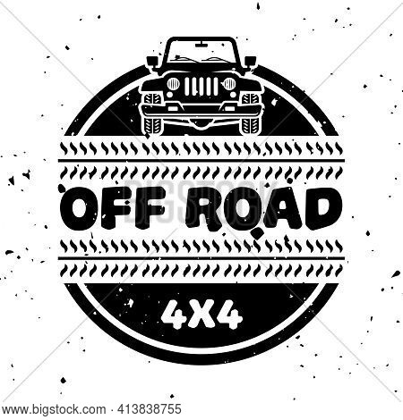 Off-road And Extreme Adventure Vector Monochrome Vintage Emblem Isolated On White Background