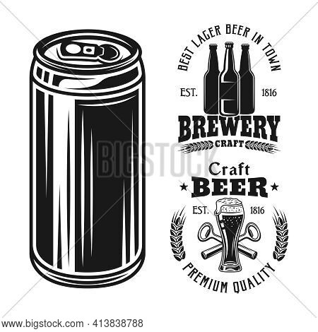 Two Brewery Emblems, Badges, Labels Or Logos And Beer Can Set Of Vector Elements Isolated On White B