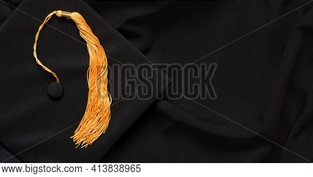 Graduation Top View Concept With Academical Hat And Diploma. Copy Space