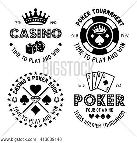 Poker And Casino Set Of Four Vector Monochrome Typographic Gambling Emblems, Labels, Badges Or Logos