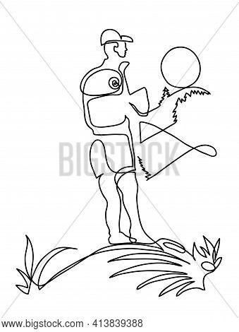 One Line Drawing Of Hiker On Mountaintop. One Continuous Line Drawing Of Hiker Standing On A Mountai