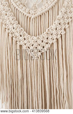 Close-up Of Handmade Macrame Texture Sample. Eco-friendly Modern Diy Knitting Concept For Natural De