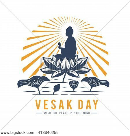 Vesak Day Banner With The Lord Buddha Meditated On Big Lotus In River And Radiance Vector Design
