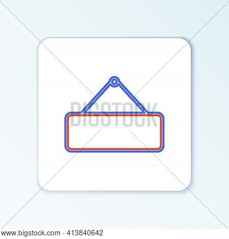 Line Signboard Hanging Icon Isolated On White Background. Suitable For Advertisements Bar, Cafe, Pub